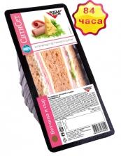 Бутерброд с ветчиной и сыром на темном хлебе 155 г