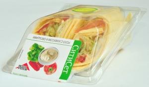 Ролл с хумусом и овощами на сырной тортилье 180 гр.